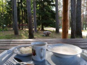 Завтрак на свежем воздухе в столовой на базе отдыха Заветное